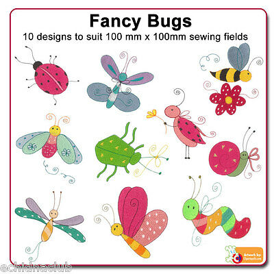 Fancy Bugs Embroidery Designs...10 Designs..