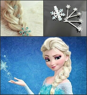Magic Show 6Pcs Frozen -Elsa snow headdress Snowflake Hairpins Handmade CJ310-BO