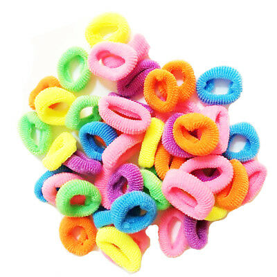 50 pcs Mini Bobbles Girls Colour Hair Bands Baby Ponytail Elastic Stretchy Pack