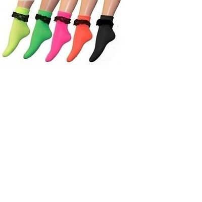 Frilly Ankle Socks Neon Colour Adult Size For Fancy Dress