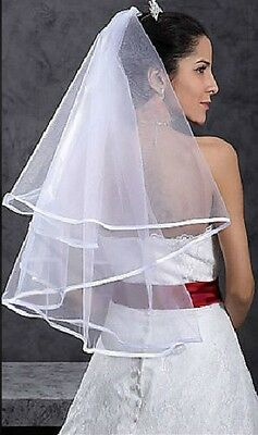 2T white  wedding bridal veil with comb waist Free Shipping