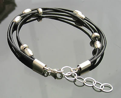 Black Genuine Leather Cord Bracelet 925 Sterling Silver with End Clasp and beads