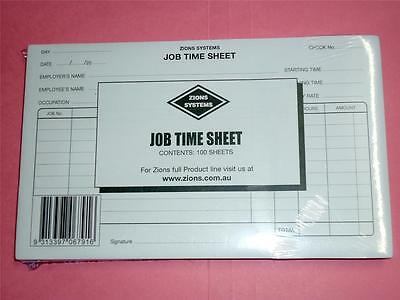 Zions Systems Job Time Sheet pack 100 sheets JTS