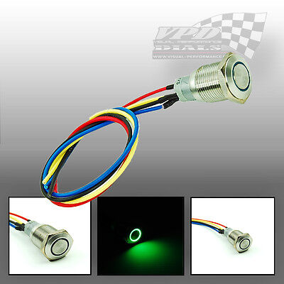 A 12v Green LED ON-OFF STAINLESS STEEL PUSH BUTTON LIGHT SWITCH IGNITION ENGINE