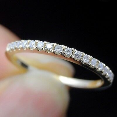 Half Eternal Wedding Band 1.4mm Wide Pave SI2 Diamond Solid 14K Yellow Gold Ring