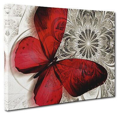 Red Canvas Butterfly Print Unique Abstract  Floral Nature Wall Art Picture New