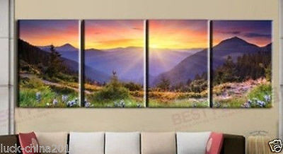 4pc NEW MODERN ABSTRACT HUGE WALL ART OIL PAINTING ON CANVAS (No frame)