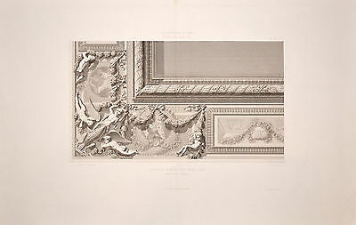 Antique architectural engraving print ornate decoration French hotel Louis XIV
