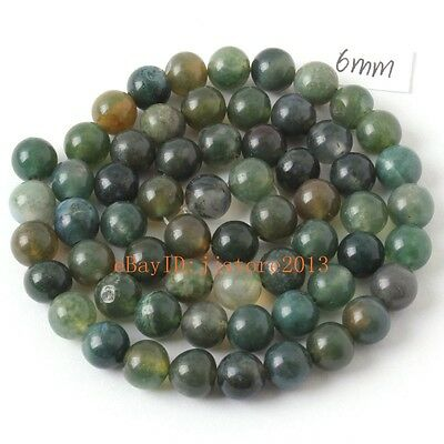 6mm Natural Moss Agate Onyx Round Shape DIY Gemstone Loose Beads Strand 15""