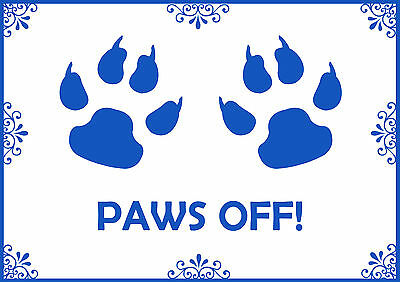 Paws Off Pink & Blue Pet Cat Dog A4 Feeding Food Mat -Laminated- Easy Wipe Clean