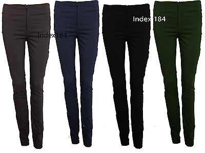 Girls School/Work Skinny Trousers With Zip & pockets Stretch Bengaline 4 Colours