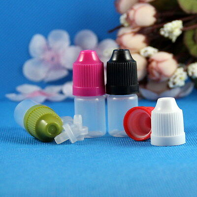 100 * 3ML LDPE Plastic Child Proof Dropper Bottles Squeezable Liquid Childproof