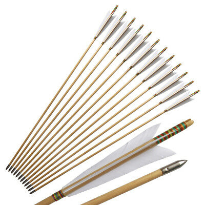 12Pcs Japanese Style White Turkeys Feather Handmade Wooden Arrows For Longbow