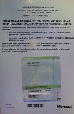 Microsoft Windows Small Business Server 2003 SBS 5 USER Add ON Pack CALs