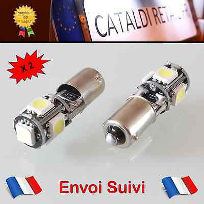 2 x Veilleuses LED T4W BA9S 5 SMD Canbus Anti Erreur ODB Blanc Pur / FRANCE !