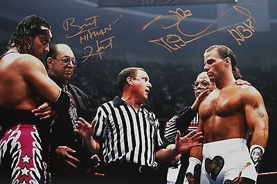 WWE HBK Shawn Michaels & Bret Hart Signed Iron Man WM12 Photo autograph JSA COA