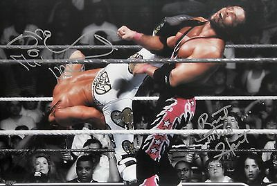 WWE HBK Shawn Michaels & Bret Hart Signed WM12 Kick Photo autograph JSA COA