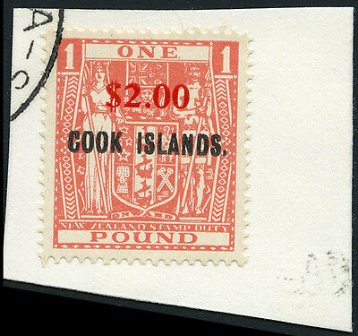 Cook Islands SG 219 1967 £2 on £1 pink. Used on piece