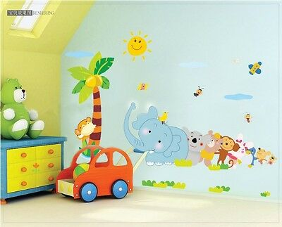 Elephant with Happy Partner Wall sticker Decor nursery room kids baby Wallpaper