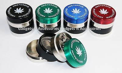 Metal Amsterdam 4 Part Weed Herb Grinder 40Mm Shark Teeth Magnetic Grass Leaf