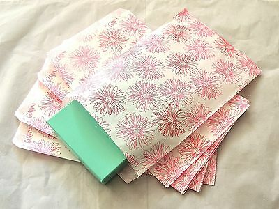 50 6x9 Pink Flower Print Paper Merchandise Bags,Pink and White Party Gift Bags