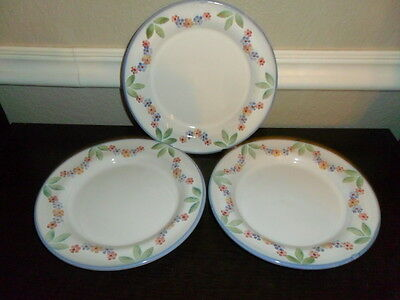 3 Rosanna Imports 8 Inch Salad / Luncheon Plates Pink Blue Flowers Swags Italy