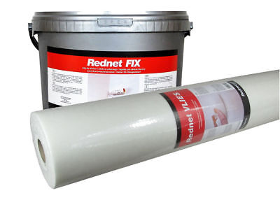 Fiberglass Glass fibre fabric REDNET VLIES 50m² & ready to use ADHESIVE 12kg