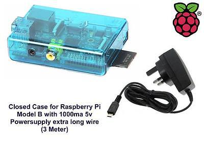 Raspberry Pi Case (Blue) for Model B Closed with 1000ma Power-supply 3m Wire