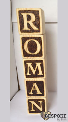 Personalised Light Wooden Baby Name Blocks Alphabet Keepsake Gift Nursery Love