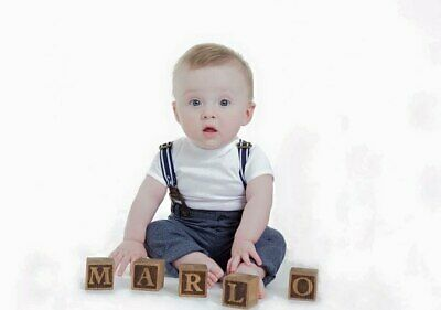 Personalised Dark Wooden Baby Name Blocks Alphabet Keepsake Nursery Gift Love