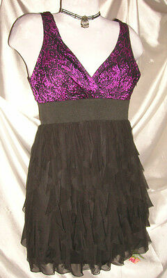 S XS Black Pink Cocktail Dress Empire Layers of Ruffles Dance Party Mini