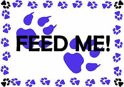 Feed Me Pet Cat Dog A4 Feeding Food Mat - Laminated -Easy Wipe Clean - 6 Colours