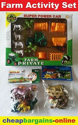 Toy Animal Farm Set Play Animals Tractor Barn Fencing Horse Cow Rooster Sheep