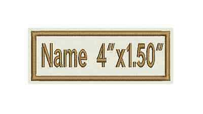 "Two Rectangle Custom Embroidered Name Tag, Biker Patch, badge 4""x1.50"""