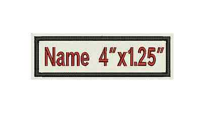 "One Rectangle Custom Embroidered Name Tag, Biker Patch, badge 4""x1.25"""