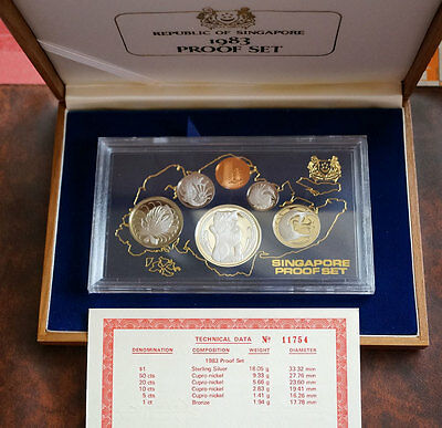 1983 Singapore Mint Proof Set Silver Dollar - Excellent Condition 6 Proof Coins