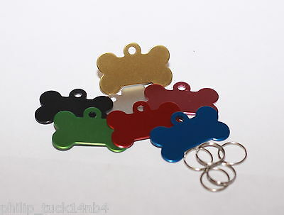 Pet Id Tag, Brass, Aluminium, Bone, Star, Heart, Disc, Various,  7 Colours