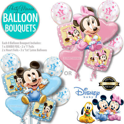 Mickey Mouse Or Minnie Mouse 1St Birthday Party Supplies Foil Balloon Bouquet