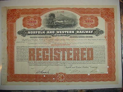 1929 $5,000 Norfolk & Western Railway Company Bond Stock Certificate Railroad