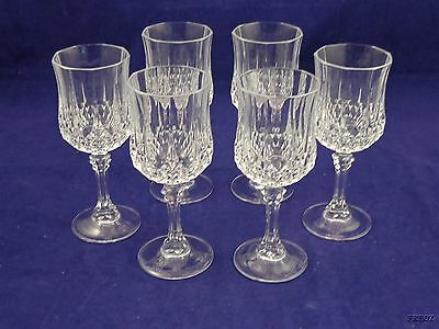 6 Diamond Cut Crystal Flared Wine Glass Goblets