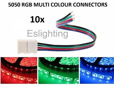 10 X Rgb Led Strip Light Connector 10Mm Flexible Smd 5050 Cable  Joiner Joint