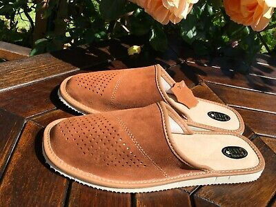 New Mens Black Grey Leather Slippers Mule Shoes Cozy Warm Boots Home Flip-Flop