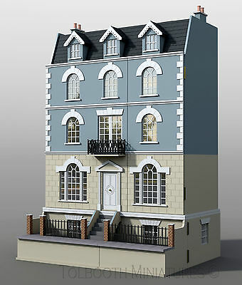 Beeches Dolls House and Basement 1:12 Scale -  Unpainted Dolls House & Base Kit