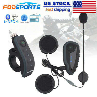 Motorcycle Helmet Remote Control Interphone Bluetooth Intercom headset FM 5Rider