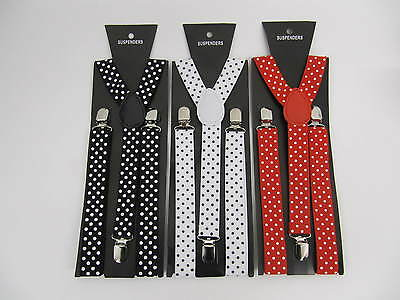 Boys Girls Braces spotted fashion canvas red black white adjustable 4 - 12 years