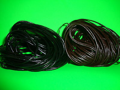 6 metres 3 brown 3 black 1.5mm round real leather thong cord necklace jewellery