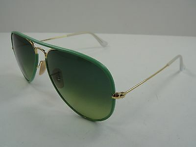 Ray-Ban Aviator Sunglasses Rb3025Jm 001/3M Green & Gold/Green Gradient Lens 58Mm