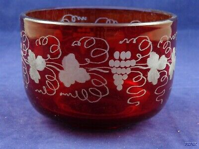 Cranberry Red Grapes Etched Bowl