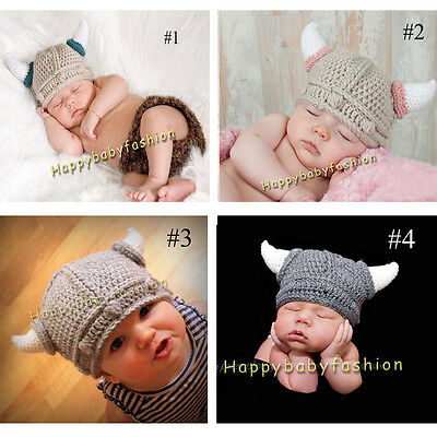 Baby Photo Props Boy Girl Crochet VIKING beanie Costume 0-3,3-6M 100% cotton
