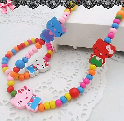 Kids Girls Children Party Hello Kitty Wooden Beads Necklace bracelet Set Gift